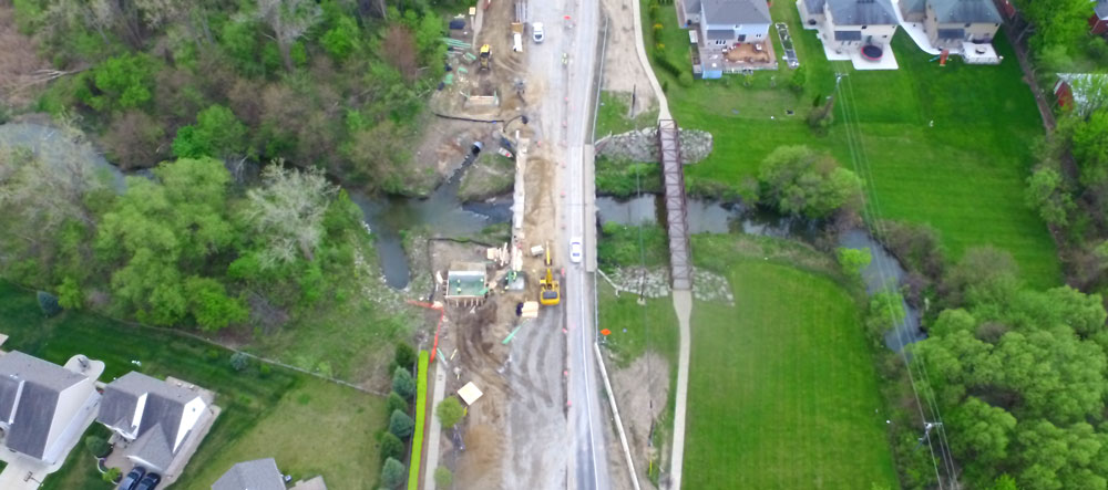 dodge park road construction aerial view