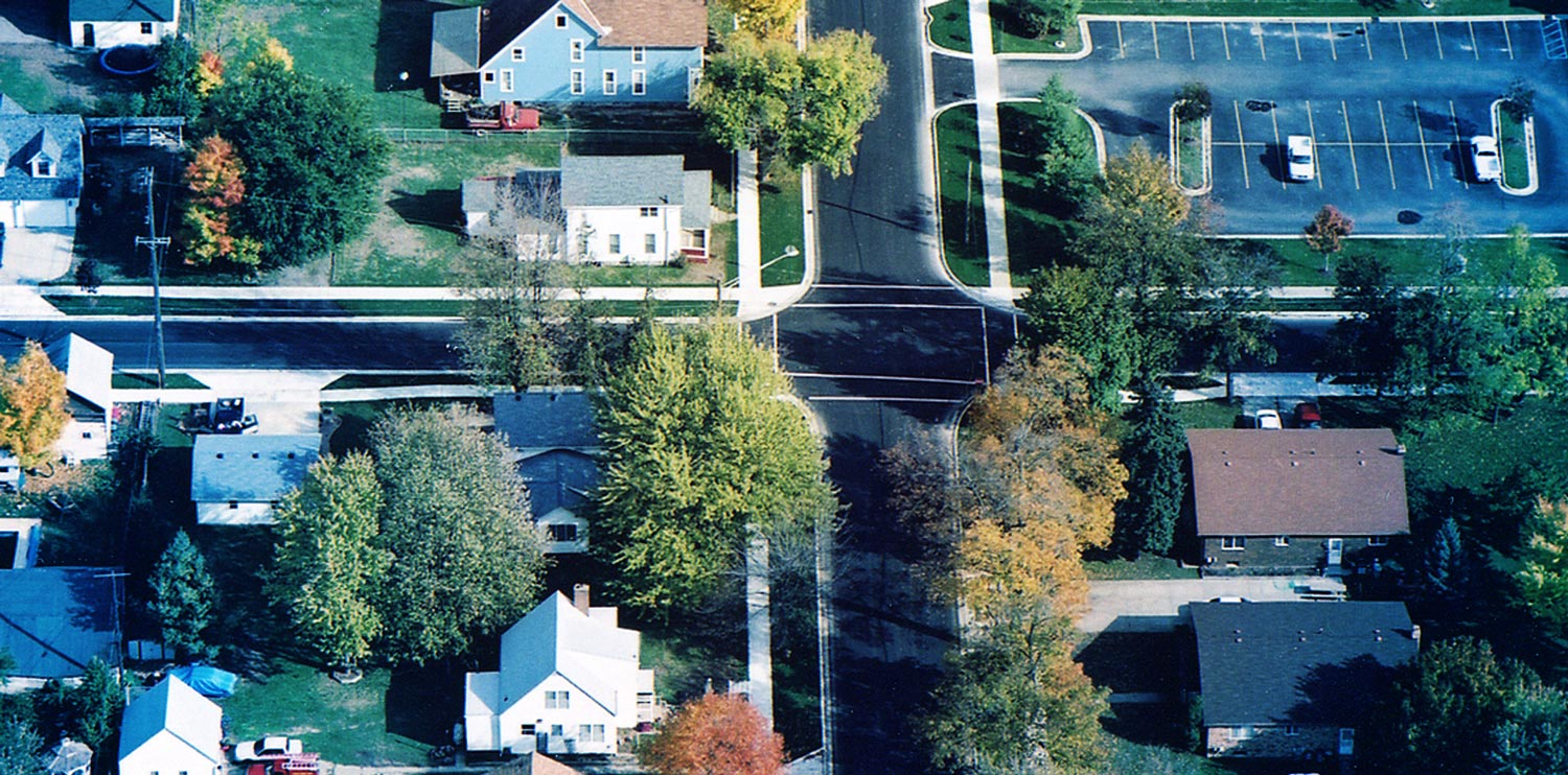 south lyon intersection aerial view