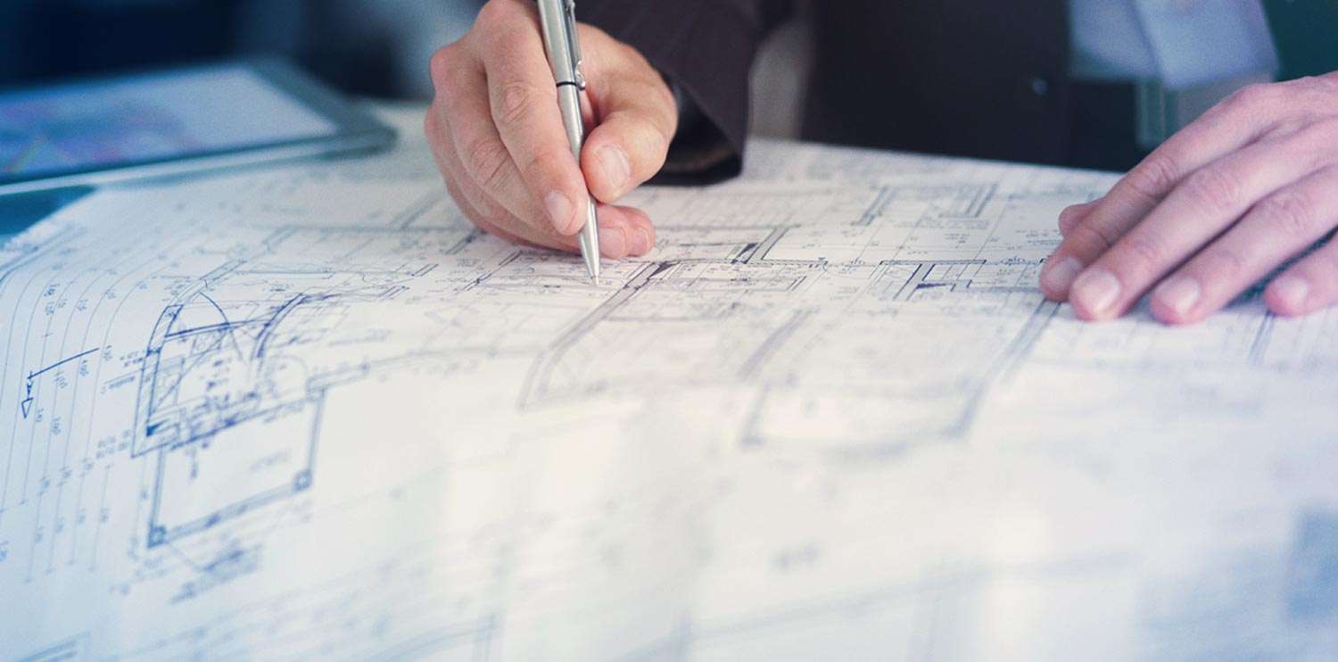 drawing on a blueprint
